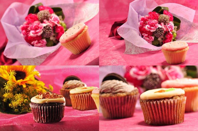 Sammlung kleine Kuchen mit Blumen 2 lizenzfreies stockbild