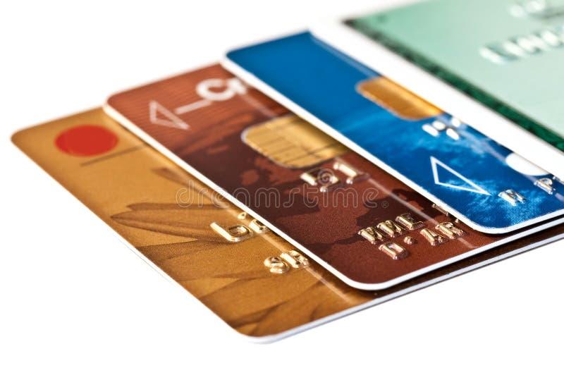 Sammlung Kreditkarten lokalisiert auf Weiß lizenzfreie stockbilder