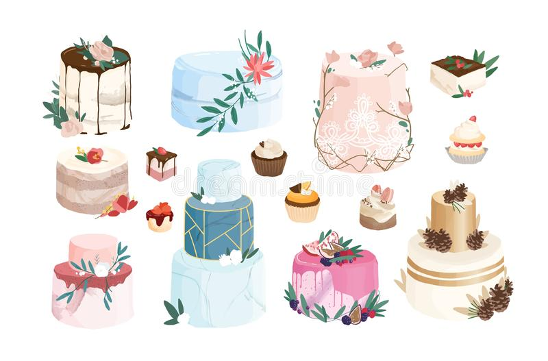 Sammlung Kuchen, Törtchen, kleine Kuchen verziert durch Zuckerglasur und Creme Bündel köstliche Nachtische des modernen Entwurfs stock abbildung