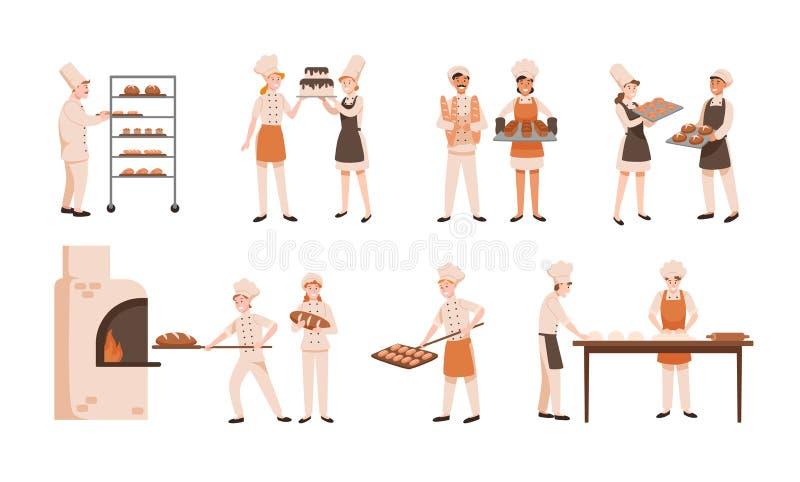 Sammlung lächelnde Männer und Frauen, die Brot backen und die Konfektionsartikel lokalisiert auf weißem Hintergrund machen Bündel stock abbildung