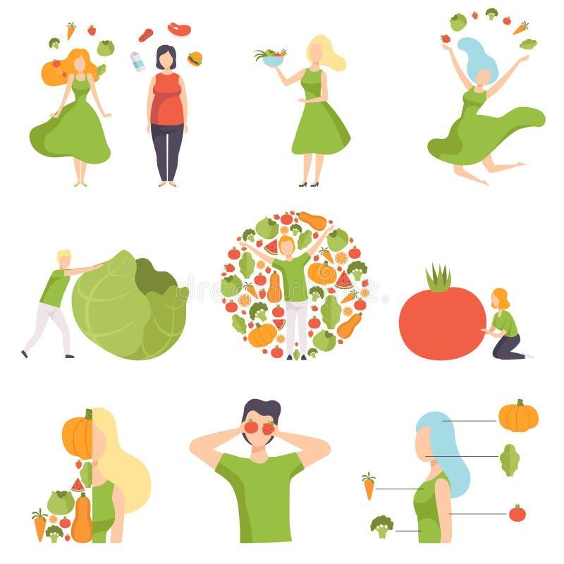Sammlung Leute mit Gemüse und Früchten, gesunde Ernährung, Diät, organische Illustration Vektor des strengen Vegetariers Nahrungs lizenzfreie abbildung