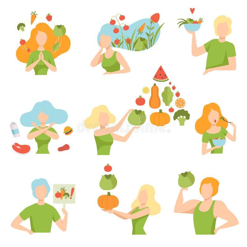 Sammlung Leute mit Gemüse und Früchten, gesunder Lebensstil, Diät, organische Illustration Vektor des strengen Vegetariers Nahrun vektor abbildung