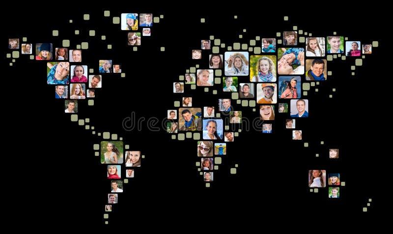 Sammlung Leuteporträts gesetzt als Weltkarteform Konzept des globalen Geschäfts stock abbildung