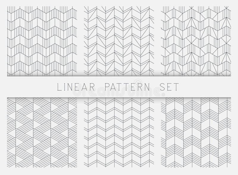 Sammlung lineare geometrische Musterschwarzweiss-beschaffenheiten stock abbildung
