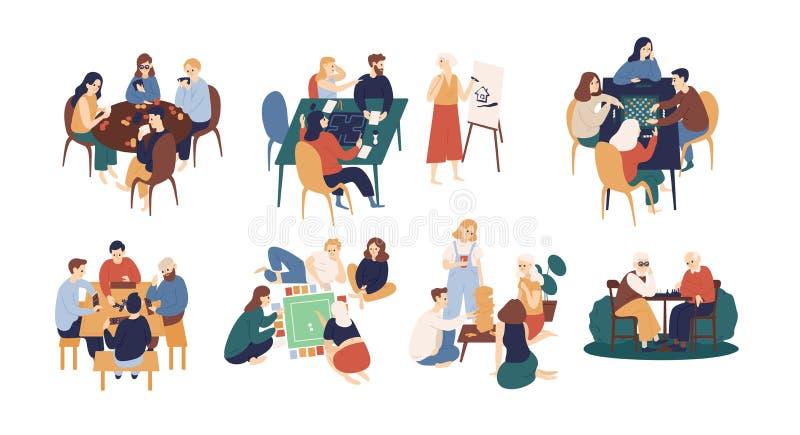 Sammlung lustige lächelnde Leute, die bei Tisch sitzen und Brett- oder Tischplattenspiele spielen Hauptfreizeitbetätigung für lizenzfreie abbildung
