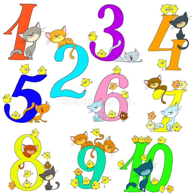 Sammlung lustige Zahlen Katzen und Hühner Nette Grüße jahrestag Nette Charaktere der Karikatur stock abbildung