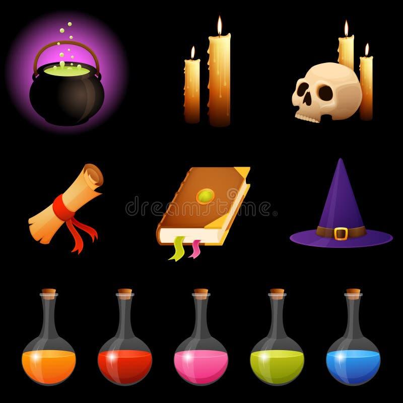 Sammlung magische Themaillustrationen oder Halloween-Ikonen stock abbildung