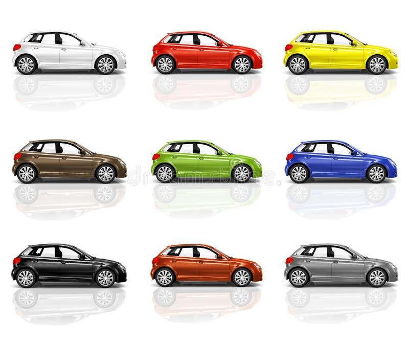 Sammlung mehrfarbige neue moderne Autos 3D lizenzfreie abbildung