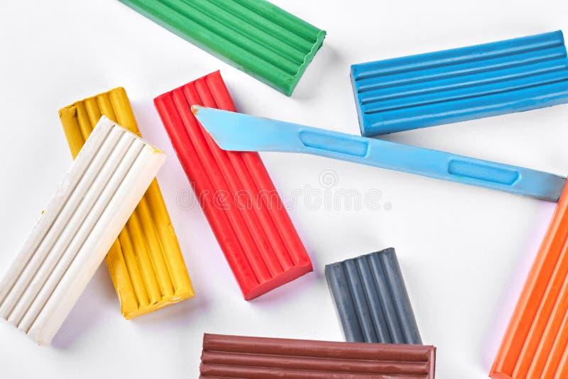 Sammlung mehrfarbiger Plasticine stockbilder