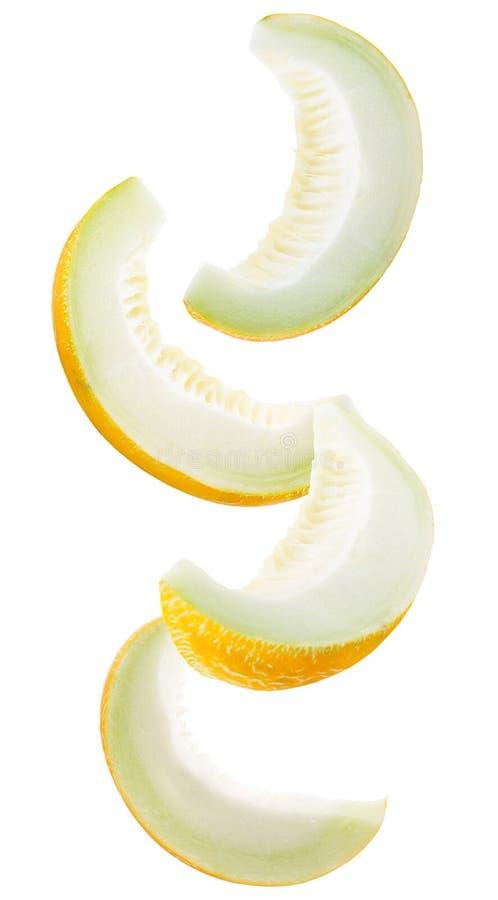 Sammlung Melonenscheiben lokalisiert auf einem weißen Hintergrund stockbilder