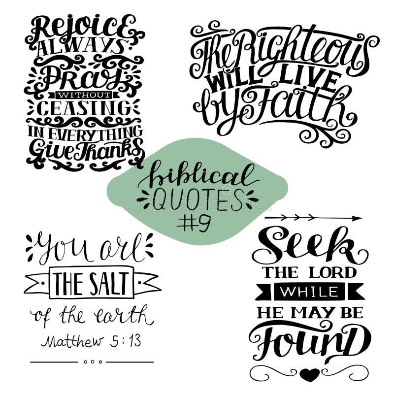 Sammlung 4 mit Bibelvers Suchvorgang der Lord Freuen Sie sich immer, beten Sie, geben Sie Dank Rechtschaffen lebt durch Glauben s lizenzfreie abbildung