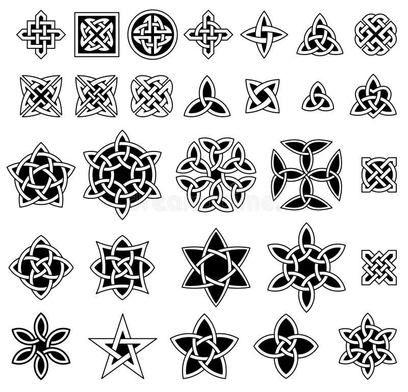 Sammlung mit 25 keltische Knoten lizenzfreie abbildung