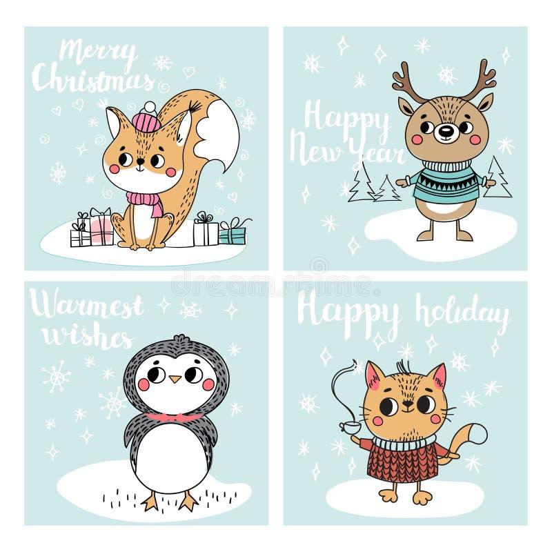 Sammlung mit Weihnachtskarten lizenzfreie abbildung