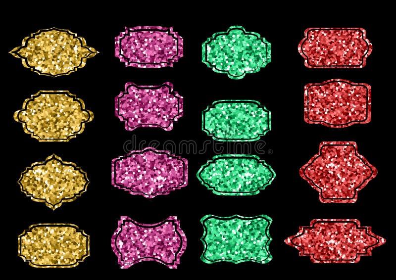 Sammlung modische Goldscheinformen Stellen Sie Sonnendurchbruchgestaltungselemente ein Bestes für Verkaufsaufkleber, Preisschild, vektor abbildung