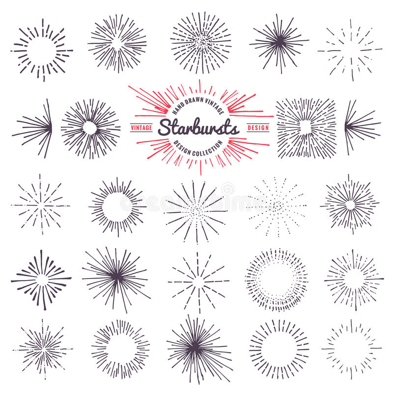 Sammlung modische Hand gezeichneter Retro- Sonnendurchbruch, der Strahlngestaltungselemente sprengt lizenzfreie abbildung