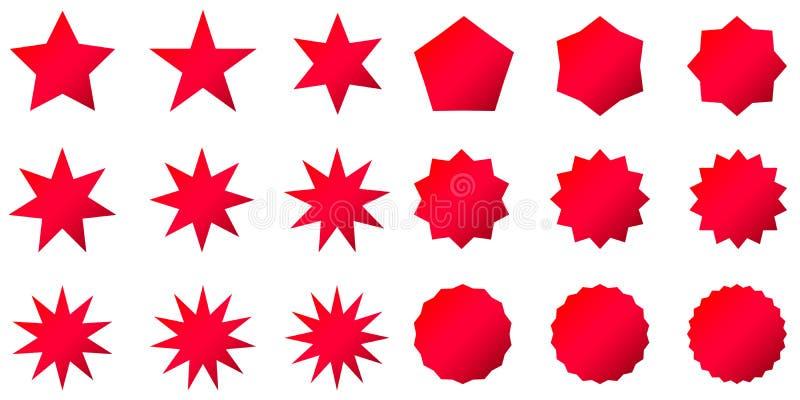 Sammlung modische Retro- Sternformen Sonnendurchbruchgestaltungselementsatz Sprengung des Strahlncliparts Rotscheine stock abbildung