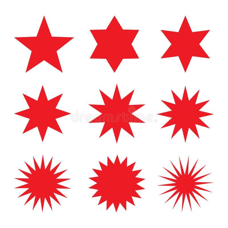 Sammlung modische Retro- Sternformen Sonnendurchbruchgestaltungselementsatz Sprengung des Strahlncliparts Rotscheine Bestes für V lizenzfreie abbildung