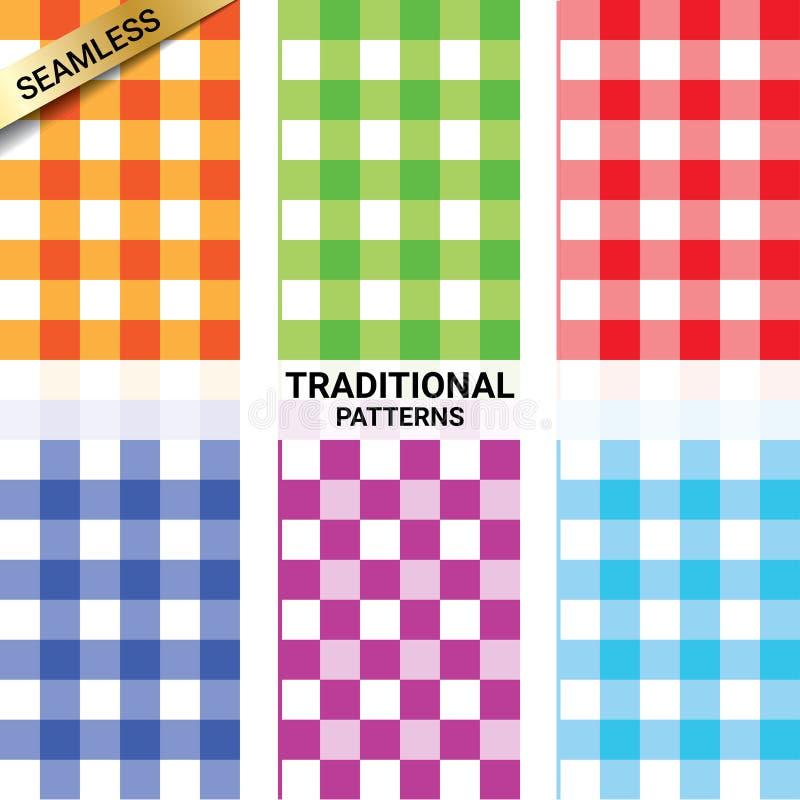 Sammlung nahtlose Muster des klassischen quadratischen karierten Plaids in den verschiedenen Farben vektor abbildung
