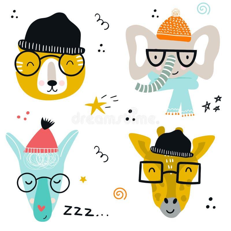 Sammlung nette Babytiere machen mit Gläsern und Strickmützen in der skandinavischen Art mundtot stock abbildung