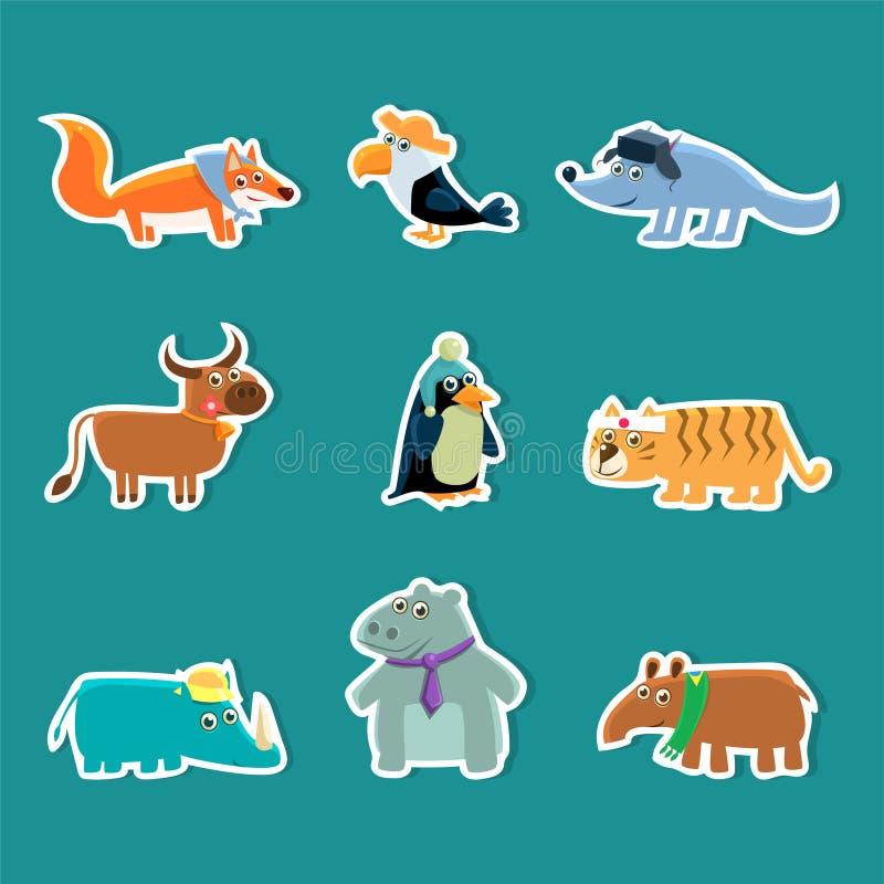 Sammlung nette Karikatur-Tieraufkleber, Fox, Tukan, Wolf, Kuh, Pinguin, Tiger, Nashorn, Nilpferd, Erdferkel-Vektor lizenzfreie abbildung