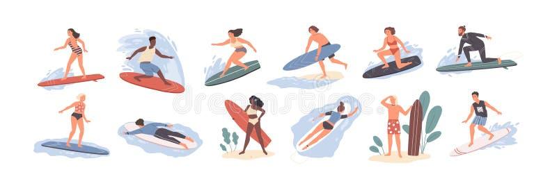 Sammlung nette lustige Leute in der Badebekleidung, die in Meer oder in Ozean surft Bündel glückliche Surfer in der Strandkleidun lizenzfreie abbildung