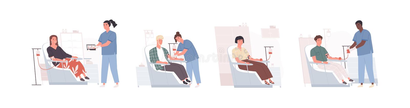 Sammlung nette lustige Männer und Frauen, die in den Stühlen sitzen und das Blut und Doktoren sammeln sie spenden Bündel des Läch lizenzfreie abbildung