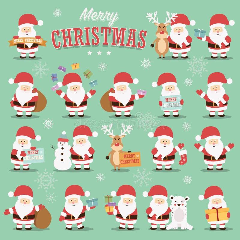 Sammlung nette Santa Claus-Charaktere mit Ren, Bären, Schneemann und Geschenken vektor abbildung