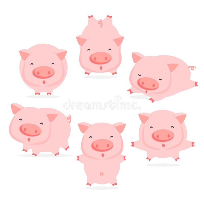 Sammlung nette Schweinzeichentrickfilm-figuren in den verschiedenen Haltungen stock abbildung
