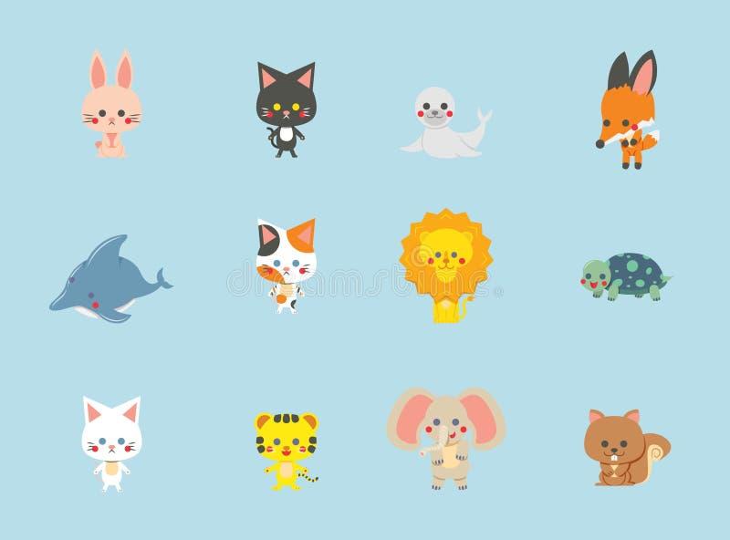 Sammlung nette Tiere mit blauem Hintergrund, Vektor, Charaktere eingestellt lizenzfreie stockfotografie