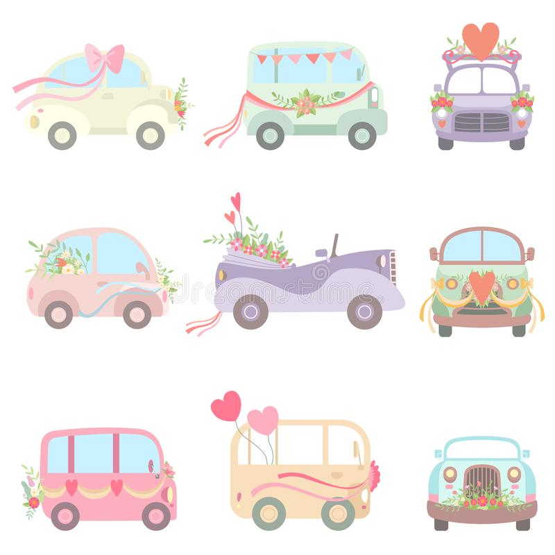 Sammlung nette Weinlese-Autos und Packwagen verziert mit Blumen, Herzen und Bänder, heiratende Retro- Autos, Front und Seite lizenzfreie abbildung