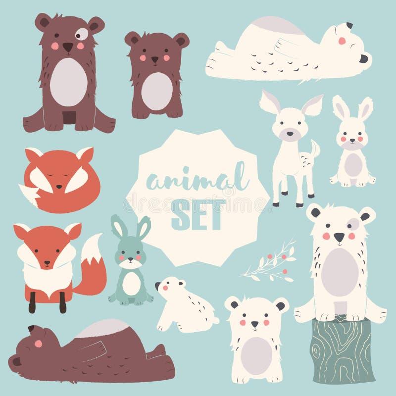 Sammlung netter Wald und polare Tiere mit Baby wirft, einschließlich Bären, Fuchs, Kitz und Kaninchen lizenzfreie abbildung