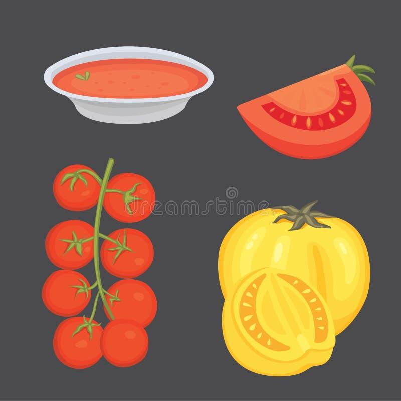 Sammlung neue rote Tomaten und Suppenvektorillustrationen Halb, Scheibe, Kirschtomate vektor abbildung