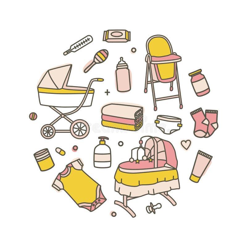 Sammlung neugeborene Babypflegemittel lokalisiert auf weißem Hintergrund Bündel Werkzeuge für Säuglingskind Satz der Kindertagess stock abbildung