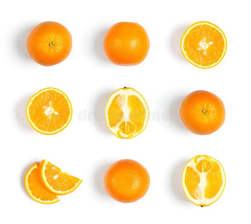 Sammlung Orangen auf weißem Hintergrund lizenzfreie stockfotos