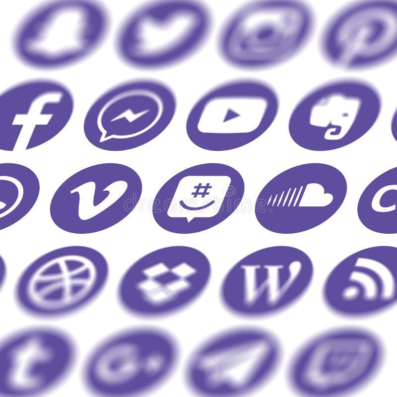 Sammlung populäre Social Media-Ikonen stock abbildung