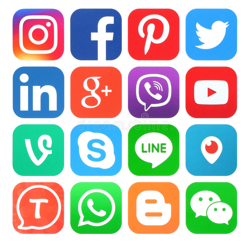 Sammlung populäre Social Media-Ikonen lizenzfreie abbildung