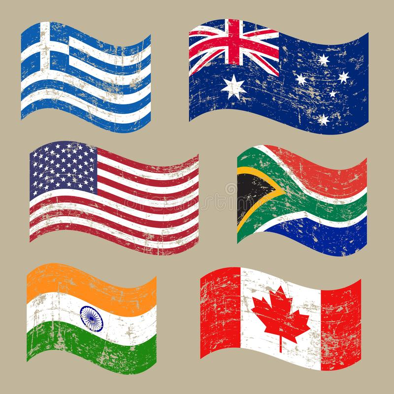 Sammlung populäre Weltflaggen, alte Flaggen des Schmutzes, lokalisiert auf braunem Hintergrund, Illustration vektor abbildung