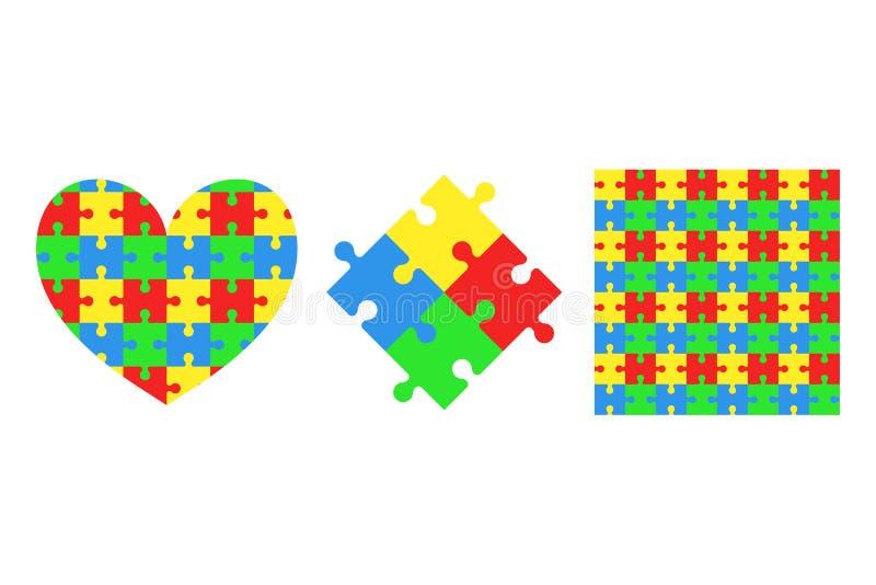 Sammlung Puzzlespielstücke Laubsäge Inneres Nahtloses Muster stock abbildung