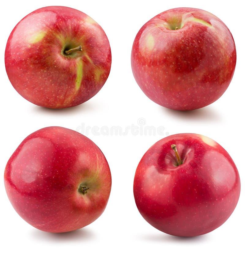 Sammlung rote Äpfel lokalisiert auf einem weißen Hintergrund stockbilder