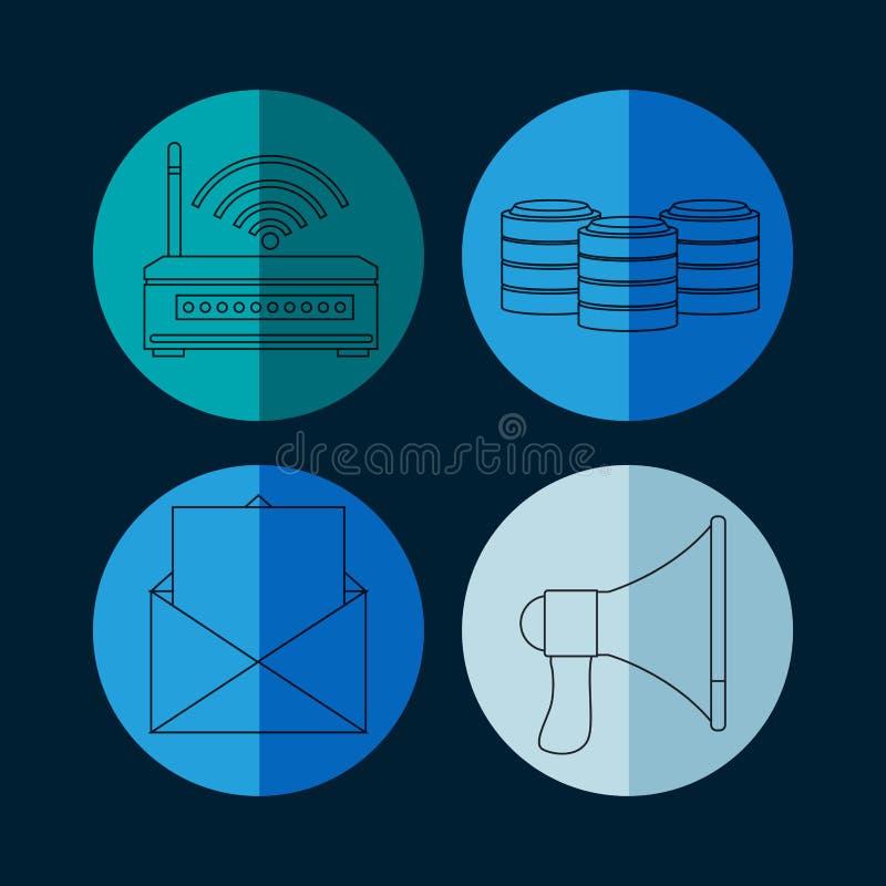 Sammlung runde Ikonen der Datenbank stock abbildung