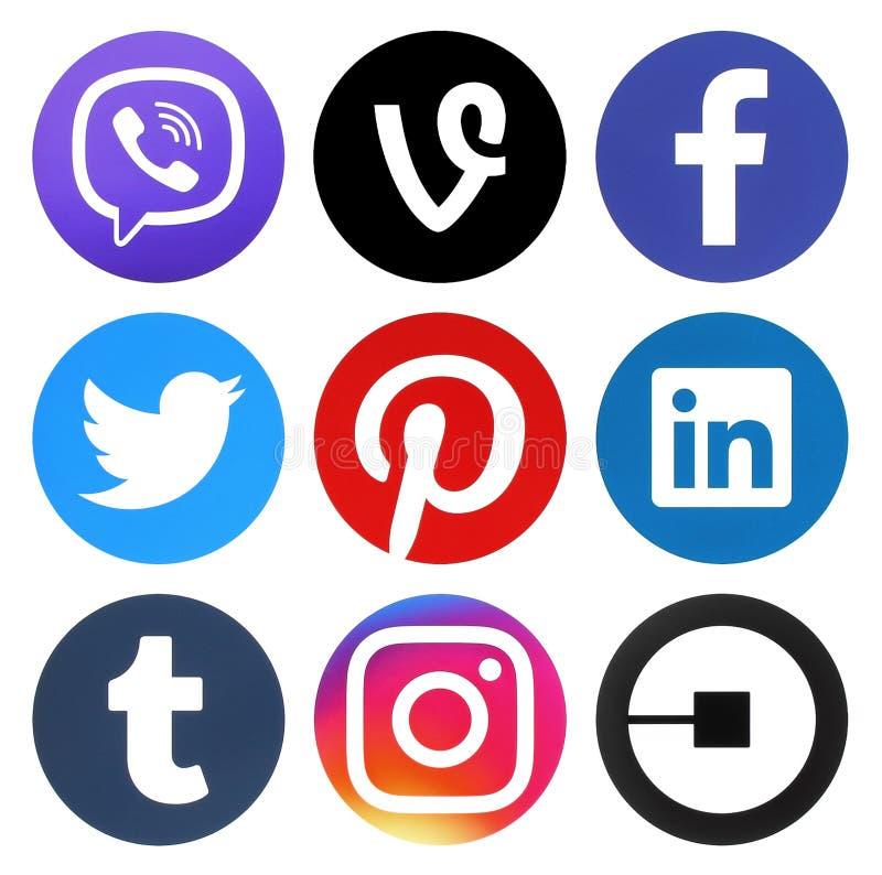 Sammlung runde Logos des populären Social Media lizenzfreie abbildung