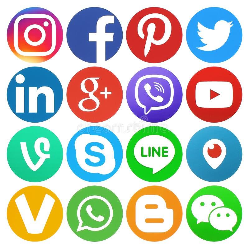Sammlung runde populäre Social Media-Logos vektor abbildung