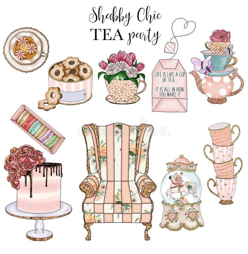 Sammlung schäbige schicke Einzelteile und Teeparty stellten - handgemachte Rastercliparte ein lizenzfreie abbildung