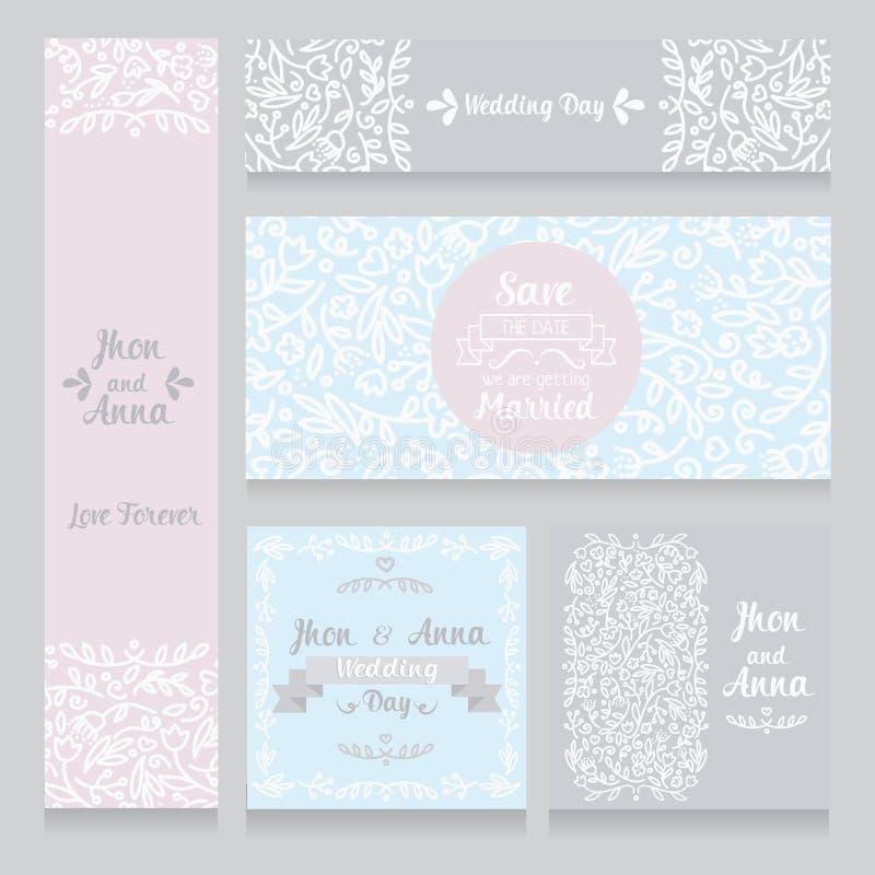 Sammlung schöne Blumenhochzeitskarten lizenzfreie abbildung