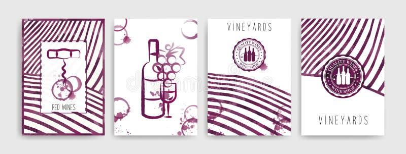Sammlung Schablonen mit Weinentwürfen Broschüren, Plakate, Einladungskarten, Förderungsfahnen, Menüs Wein befleckt Hintergrund lizenzfreie abbildung