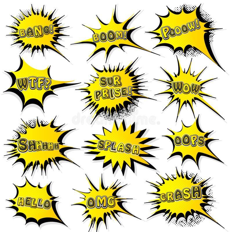 Sammlung Schablonenrede sprudelt in der Pop-Arten-Art Elemente von Designcomic-b?chern Stellen Sie vom gelben starburst mit unter vektor abbildung