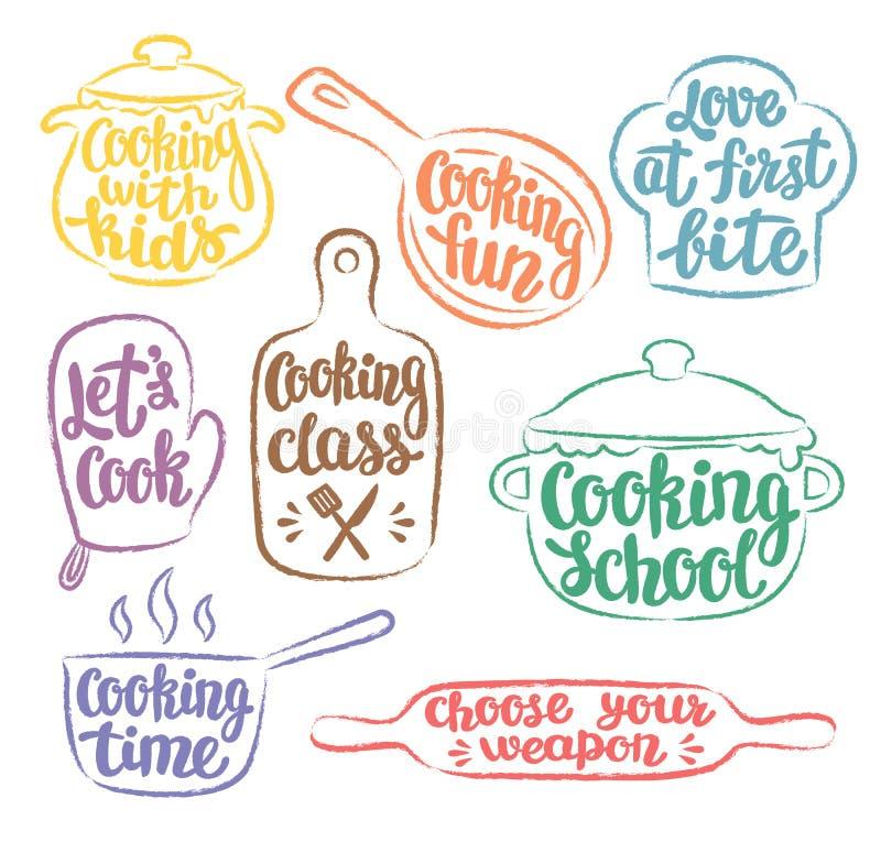 Sammlung Schmutzfarbe umriß das Kochen des Aufklebers oder des Logos vektor abbildung