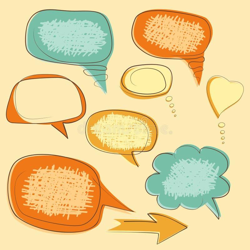 Sammlung Schmutzspracheblasen lizenzfreie abbildung