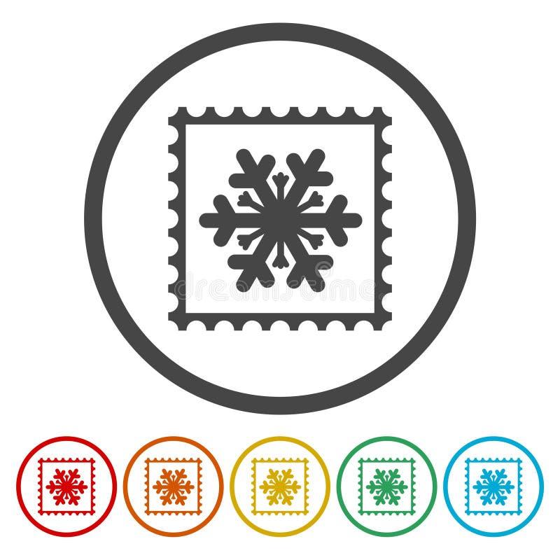 Sammlung Schneeflockenvektor-Briefmarken stock abbildung