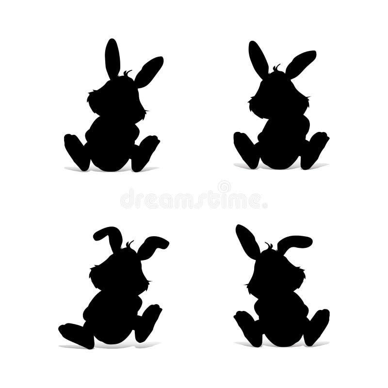 Sammlung schwarzes Kaninchensitzen, Schattenbild auf weißem backgrou stock abbildung